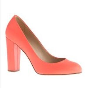 J. Crew Orange Coral Leather Etta Pumps