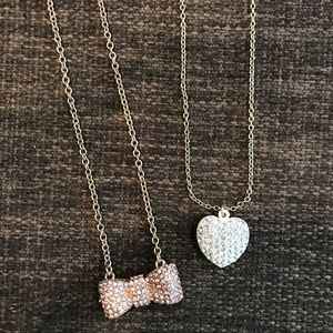 Rhinestone Pave Bow & Heart Gold Necklaces