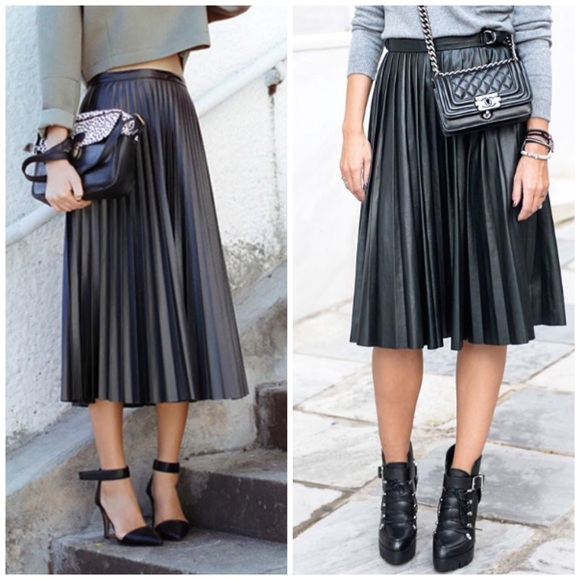 Trouve Dresses & Skirts - Pleated leather midi skirt