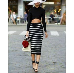 OLD NAVY Stripe Stretch Midi Skirt
