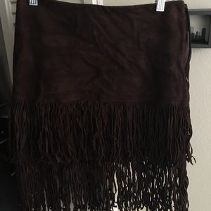 Ralph Lauren genuine leather brown fringe skirt