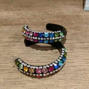 Jewelry - Rhinestone multicolored hoop earrings