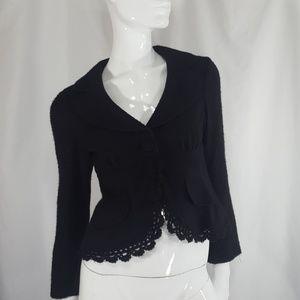 Nanette Lepore Black Fuzzy Blazer Small