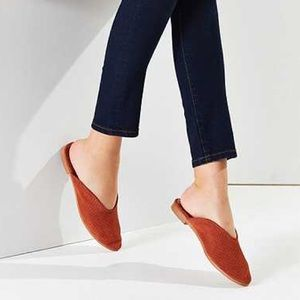 Urban Outfitters Perforated Suede Mules Rust