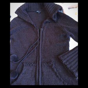 BCBG chocolate brown Zip Cardi Sweater