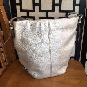 Tignanello metallic silver bucket crossbody bag