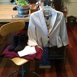 H&M Pale Pink 3/4 Sleeve Peplum Blazer