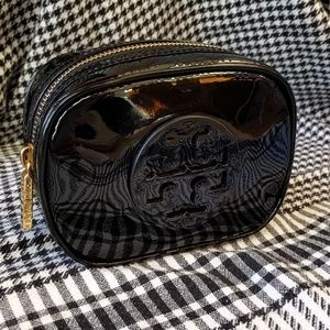 NWOT Tory Burch Black Mini Cosmetic Bag Gold Zip