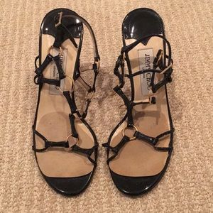 Jimmy Choo London black patent leather heels 37 7