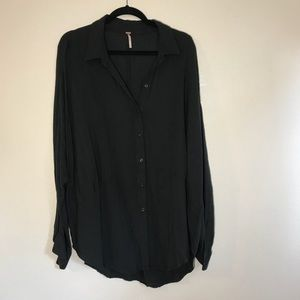 Free people Size XL black gray blouse