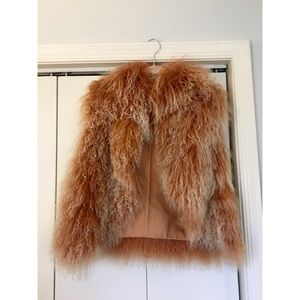 Alice + Olivia Sheep Fur Vest in Peach/Coppe -Sz M