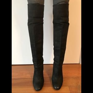 Over the knee wedge boots