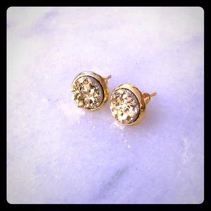 Gold Faux Druzy Earrings set in gold. 8mm