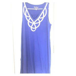 Royal blue knit dress with neck detail