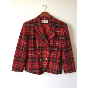 Womens Vintage Red Plaid Wool Button Front Blazer