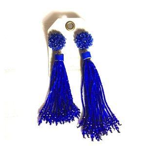 Anthropologie Royal Asymmetrical Tassel Earrings