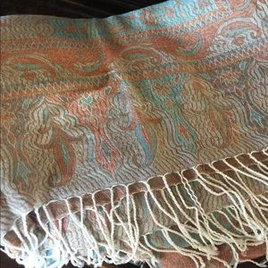 Aqua/peach oversized scarf