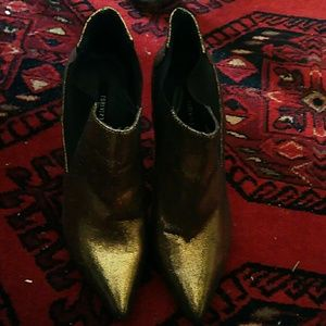 6 F21 Gold pointed toe ankle boots