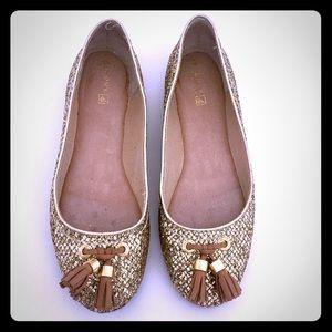 Sperry Bliss Gold Glitter Flat w Tassels