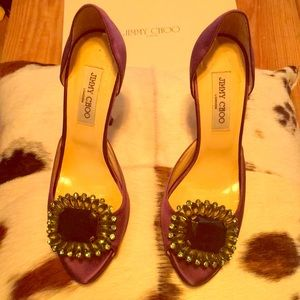 Jimmy choo purple satin stilettos