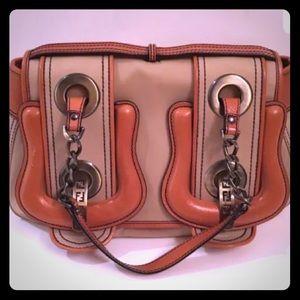 Fendi Double Buckle B Bag Tan Canvas Leather