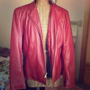 Cole Haan red pleather jacket