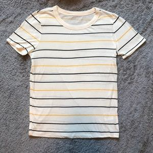 Yellow, Navy, and Black Striped Tee