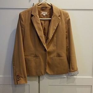 Camel Merona blazer with pink collar