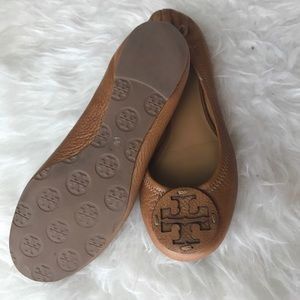 Tory Burch Brown Leather Reva Flats Size 6