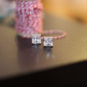 Twinkle Rhinestone Princess Cut Earrings