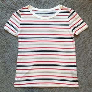 BDG White Tee with Red, Navy, and Beige Stripes