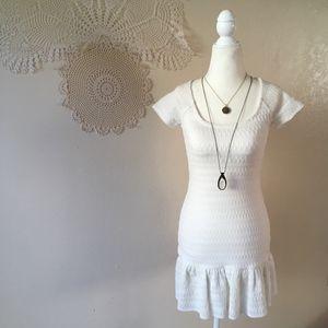 Free People white knit drop waist ruffle dress