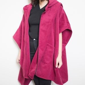 Chic Fuchsia Oversized Hooded Cape