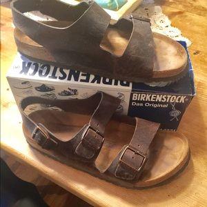 Men's brown Birkenstock sandals