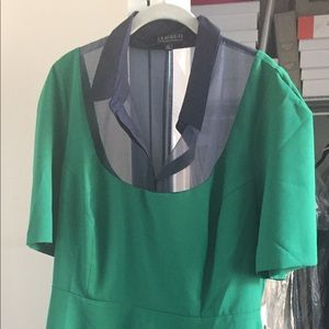 Emerald green dress with blue mesh detailing (20)