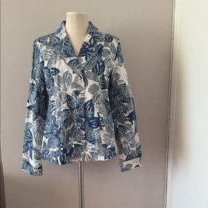NEW Coldwater Creek Floral Cotton Blazer Large