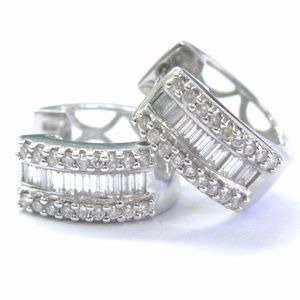 Fine Round & Baguette Diamond Multi Shape Earrings