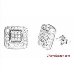 14k White gold layer Medium size Square CZ 925