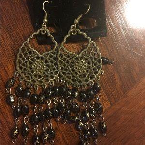 Black bead and gold tone earrings