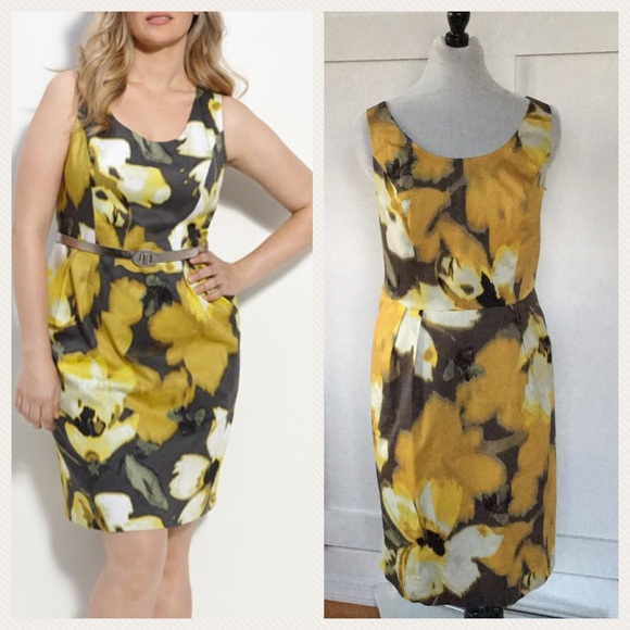 017467ef Eliza J Dresses & Skirts - Eliza J mustard yellow print sheath dress 14W