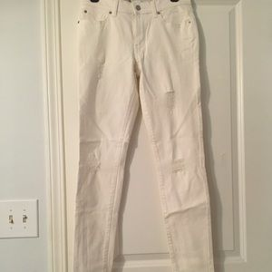Banana Republic white distressed jeans