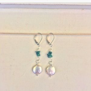 HANDCRAFTED SILVER PEARL & MALACHITE EARRINGS