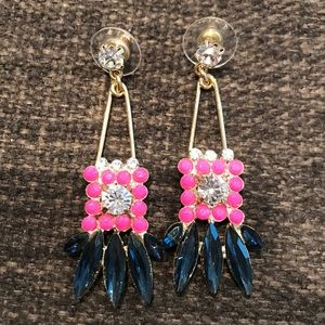 Gold, Pink & Navy Statement Earrings