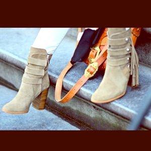 Zara Suede Leather Fringe Booties