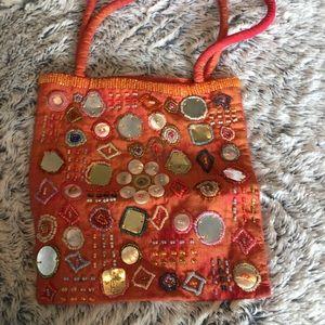 Handbags - Vintage orange silk purse with mirror beads