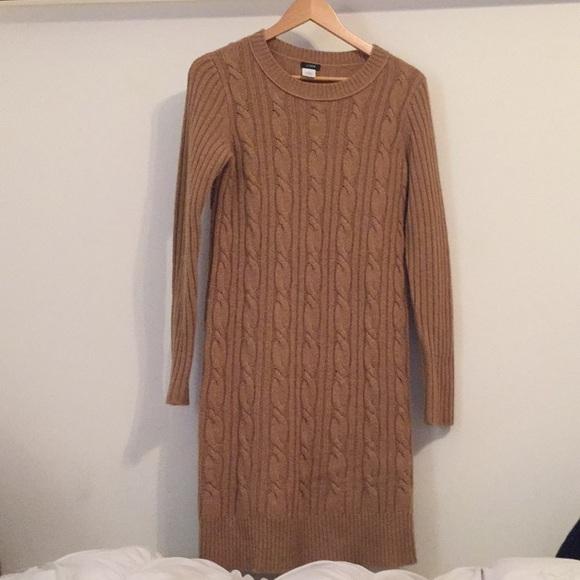 667b34c13d1 J. Crew Dresses   Skirts - J.Crew Wool Cable Knit Sweater Dress Camel