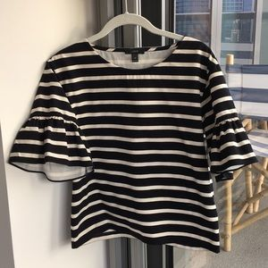 J. Crew striped tee with ruffle sleeves