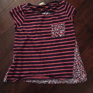 Anthropologie striped floral t-shirt navy