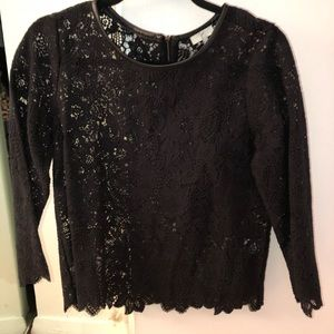 Joie lace top with leather trim sz small