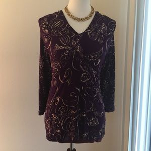 Chico's Deep Purple Lavender and Beige Blouse Top
